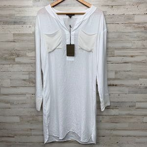 NWT Tommy Bahama white linen /silk trim dress MED